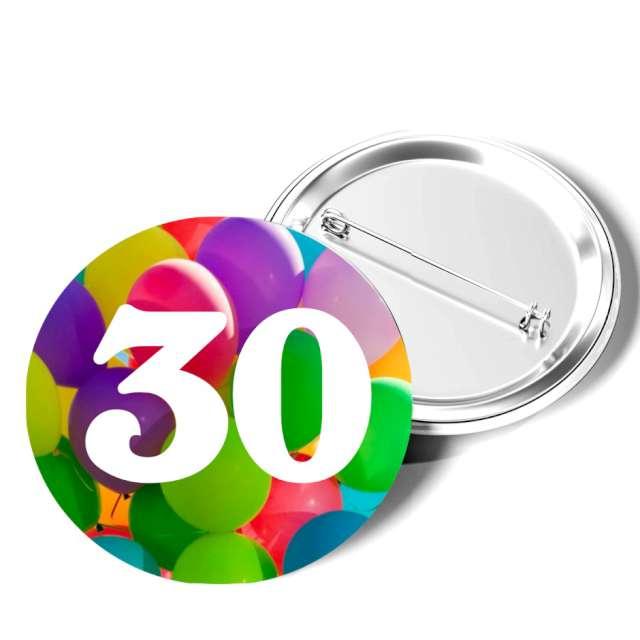 """Przypinka """"30 Urodziny"""", okrągła, kolor mix, 56 mm"""