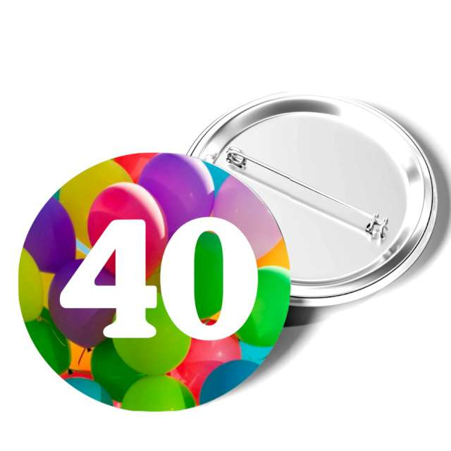 """Przypinka """"40 Urodziny"""", okrągła, kolor mix, 56 mm"""