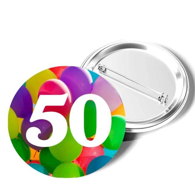 """Przypinka """"50 Urodziny"""", okrągła, kolor mix, 56 mm"""