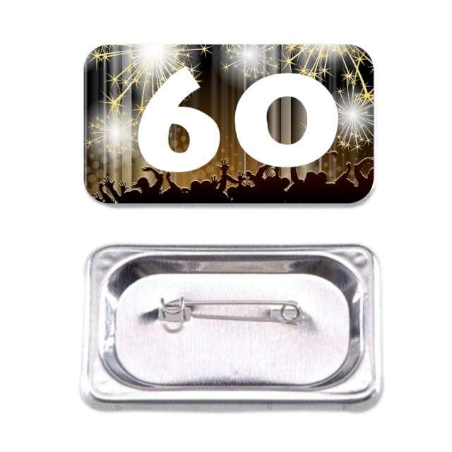Przypinka 60 Urodziny prostokątna kolor mix 38x58 mm