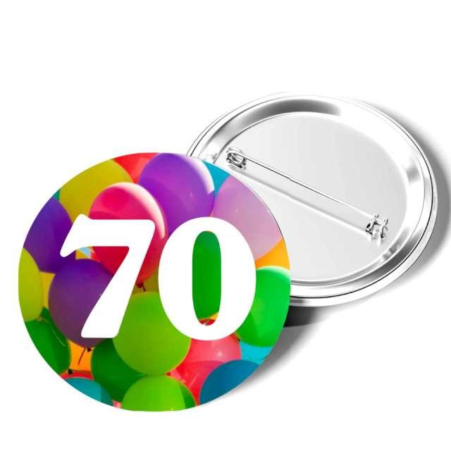 """Przypinka """"70 Urodziny"""", okrągła, kolor mix, 56 mm"""