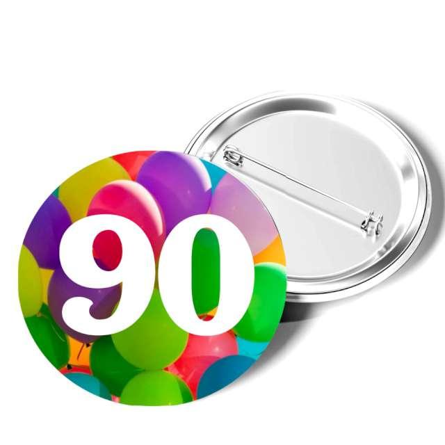 """Przypinka """"90 Urodziny"""", okrągła, kolor mix, 56 mm"""