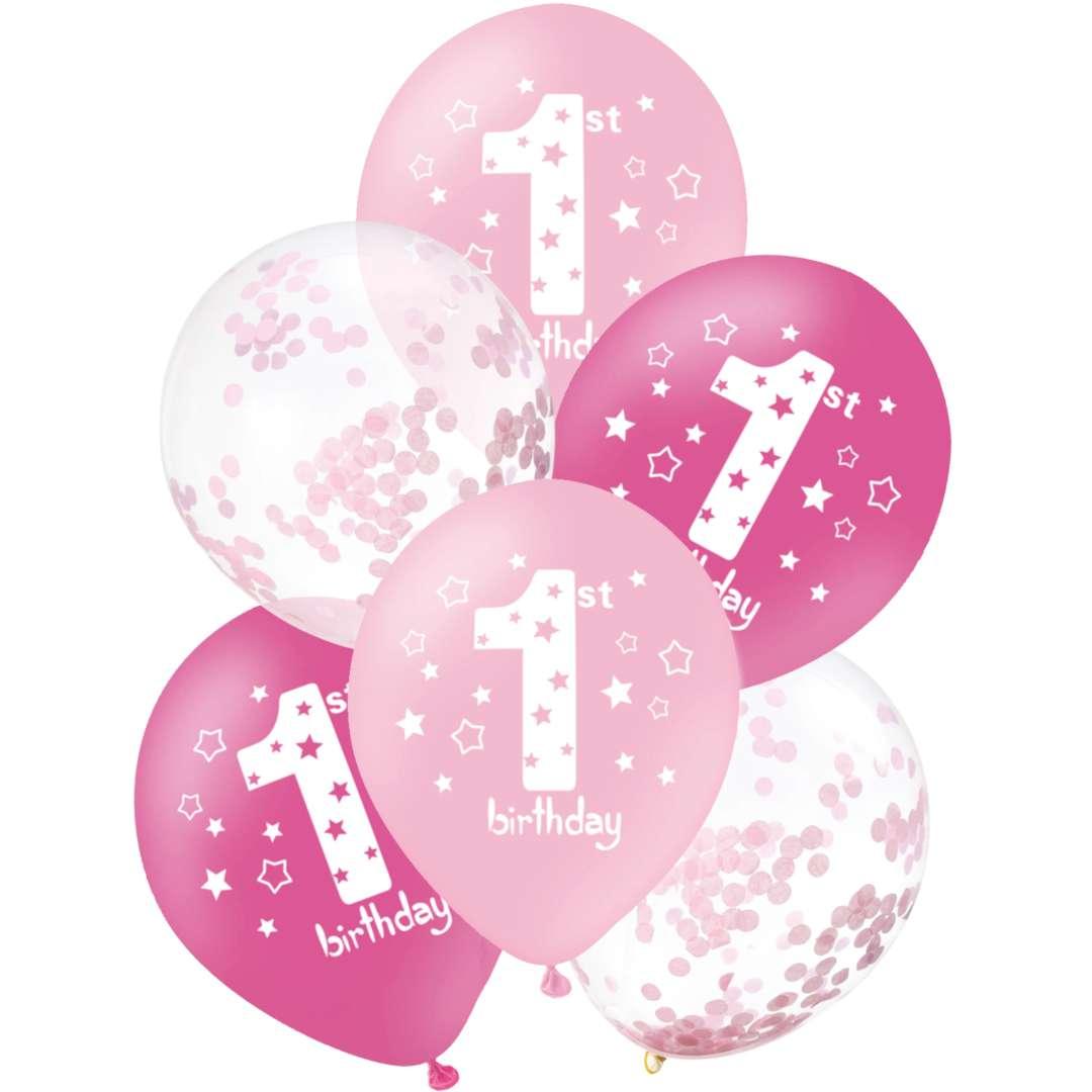 Balony 1 Birthday - Urodziny biało-różowe PartyPal 12 6 szt.