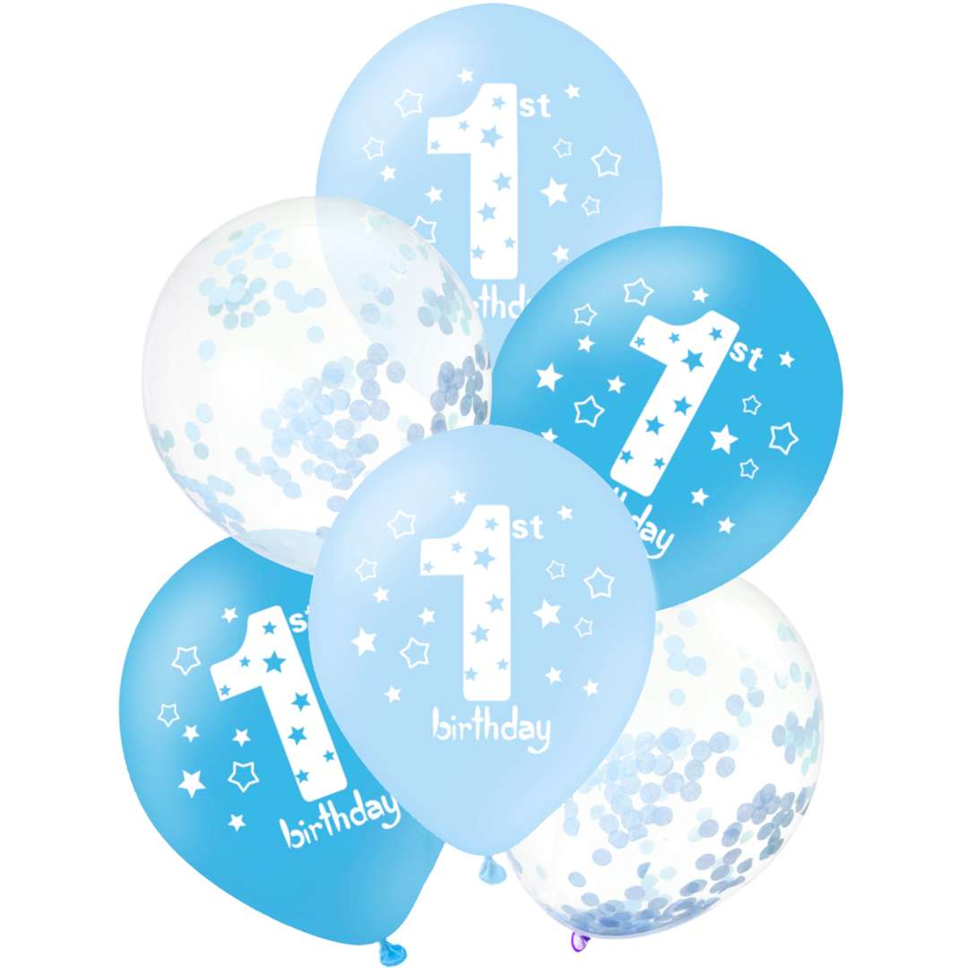 """Balony """"1 Birthday - Urodziny"""", biało-niebieskie, PartyPal, 12"""", 6 szt."""