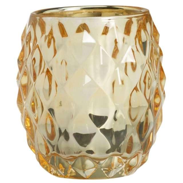 """Świecznik """"Diament z wkładem"""", złoty-dymny, Bolsius, 9 cm"""