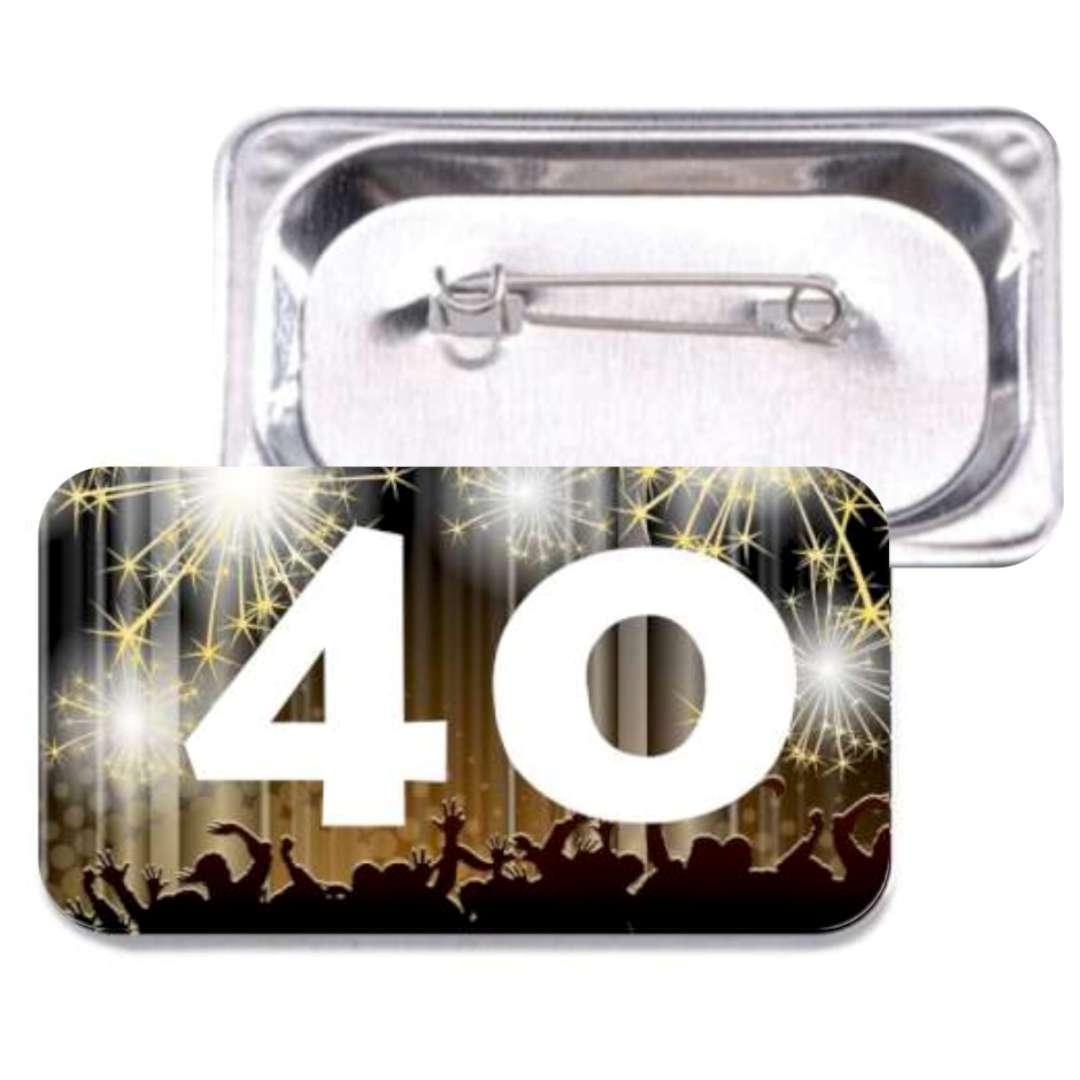 """Przypinka """"40 Urodziny"""", prostokątna, kolor mix, 38x58 mm"""