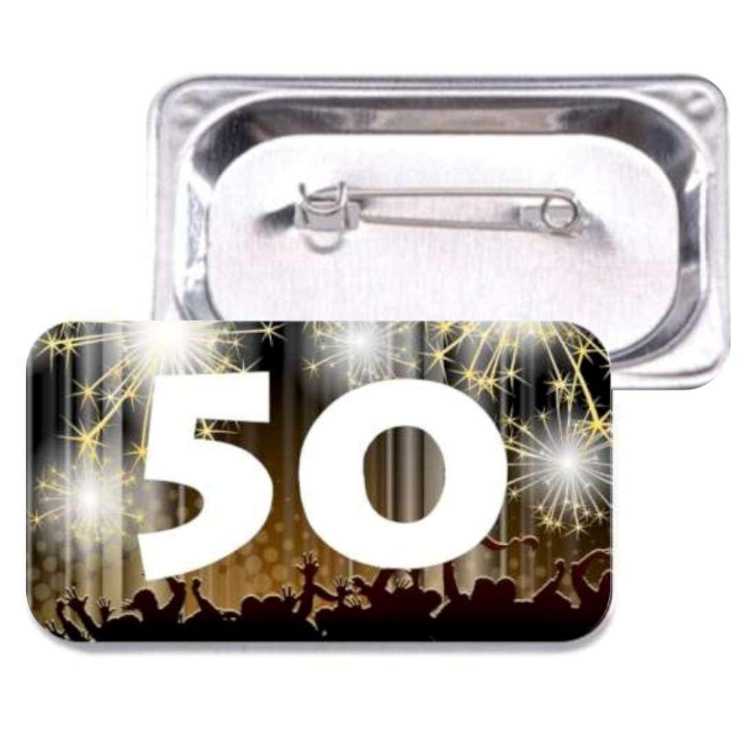 """Przypinka """"50 Urodziny"""", prostokątna, kolor mix, 38x58 mm"""
