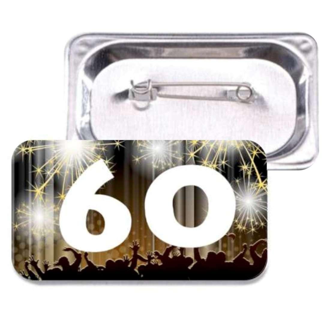 """Przypinka """"60 Urodziny"""", prostokątna, kolor mix, 38x58 mm"""
