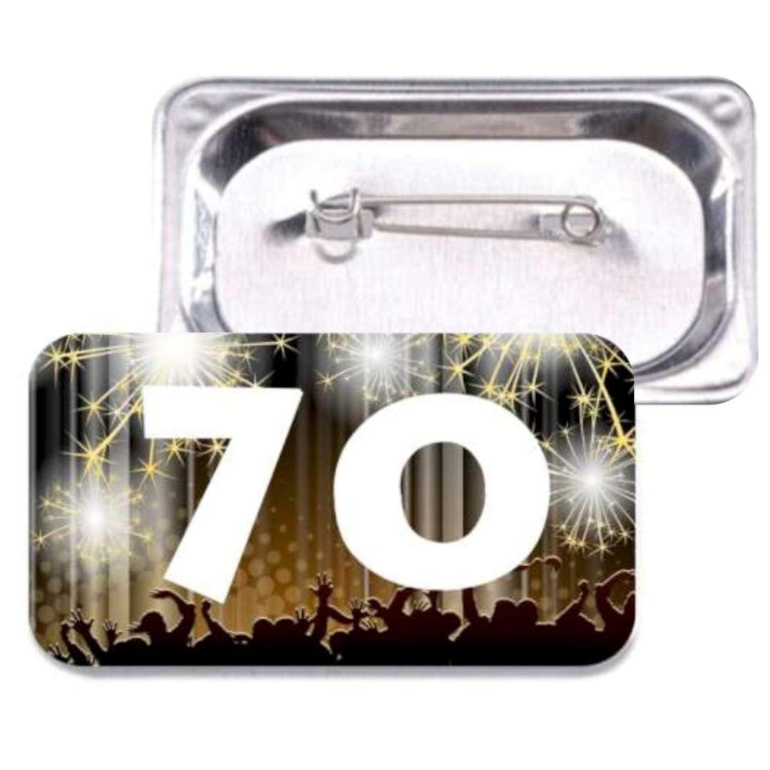 """Przypinka """"70 Urodziny"""", prostokątna, kolor mix, 38x58 mm"""