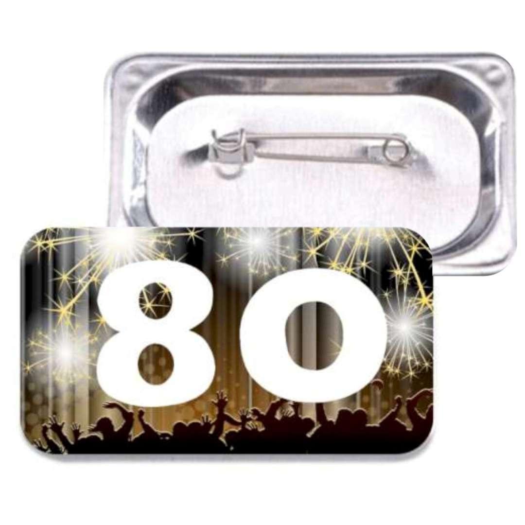 """Przypinka """"80 Urodziny"""", prostokątna, kolor mix, 38x58 mm"""
