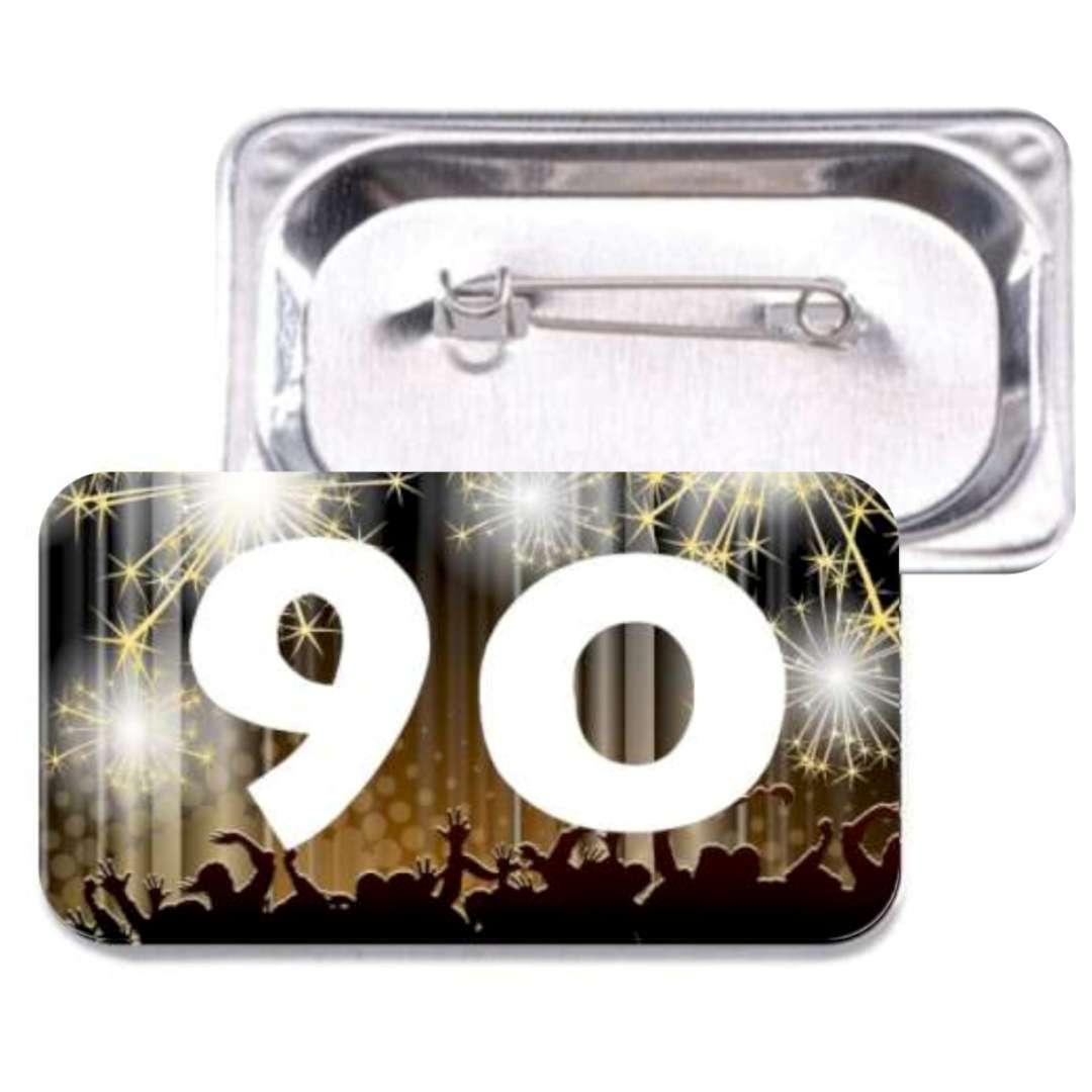 """Przypinka """"90 Urodziny"""", prostokątna, kolor mix, 38x58 mm"""
