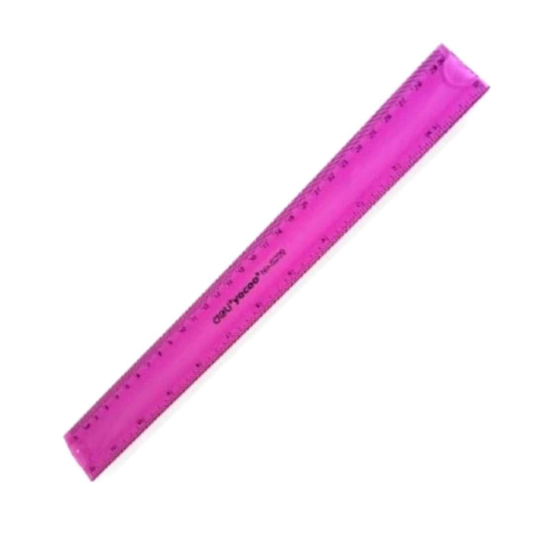 Linijka Elastyczna  różowy neon DELI 30 cm