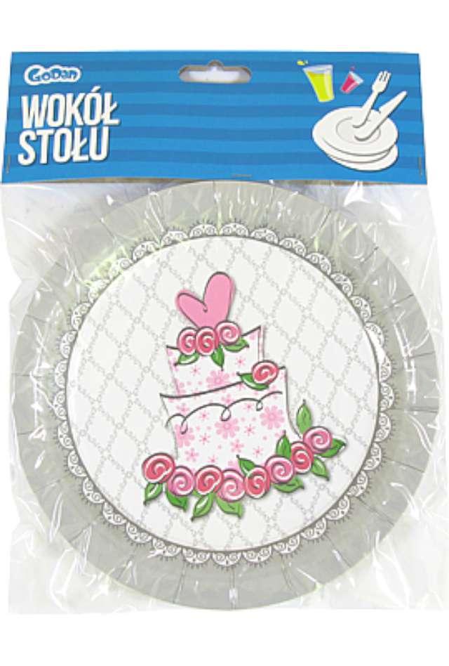 Talerzyki papierowe Tort Weselny 18 cm 6 szt