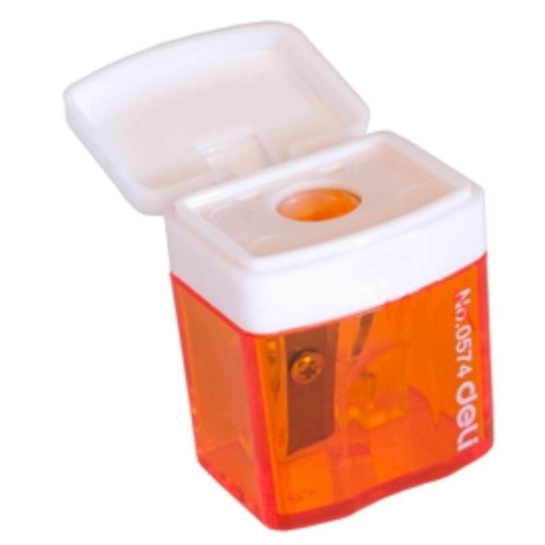 """Temperówka z pojemnikiem """"Mini"""", pomarańczowa, DELI"""