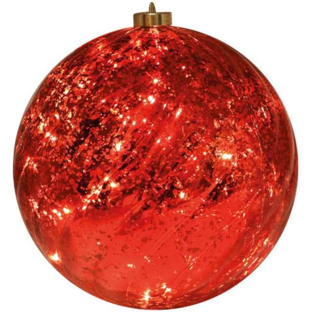 """Bombka """"Świąteczna - Ledowa"""", czerwona, Guirca, 15 cm"""