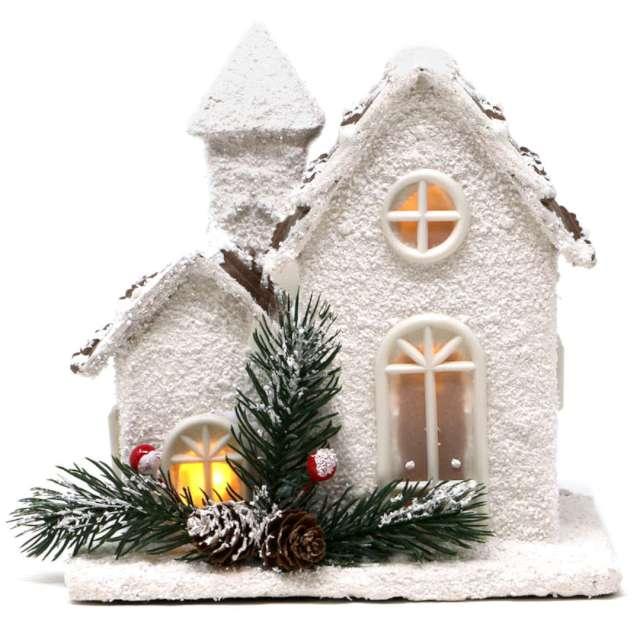 Dekoracja Świąteczny domek LED biały Guirca 18cm