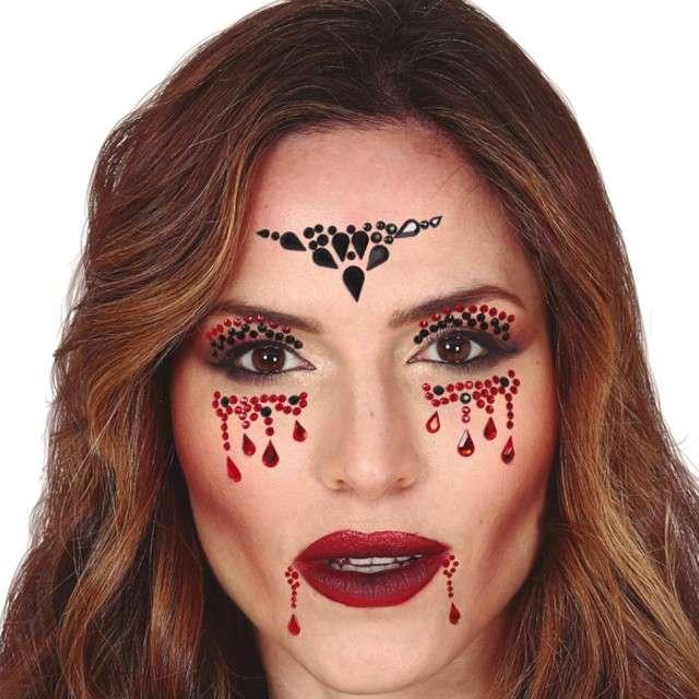 """Make-up party """"Kryształki na twarz wampirzyca"""", czarno-czerwone, Guirca"""
