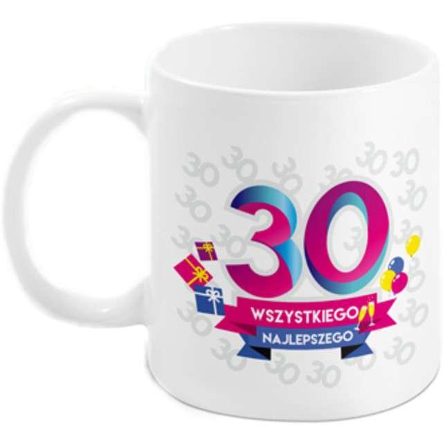 Kubek z nadrukiem 30 - te urodziny - Boss biały BGtech 300 ml