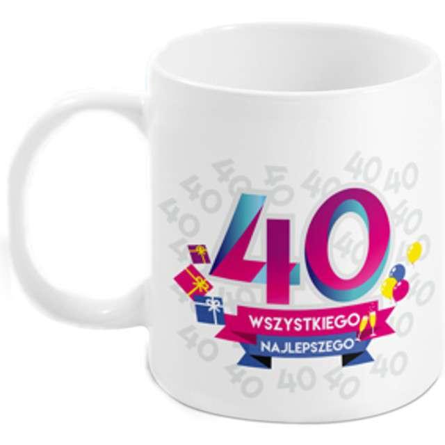 Kubek z nadrukiem 40-te urodziny - Boss biały BGtech 300 ml