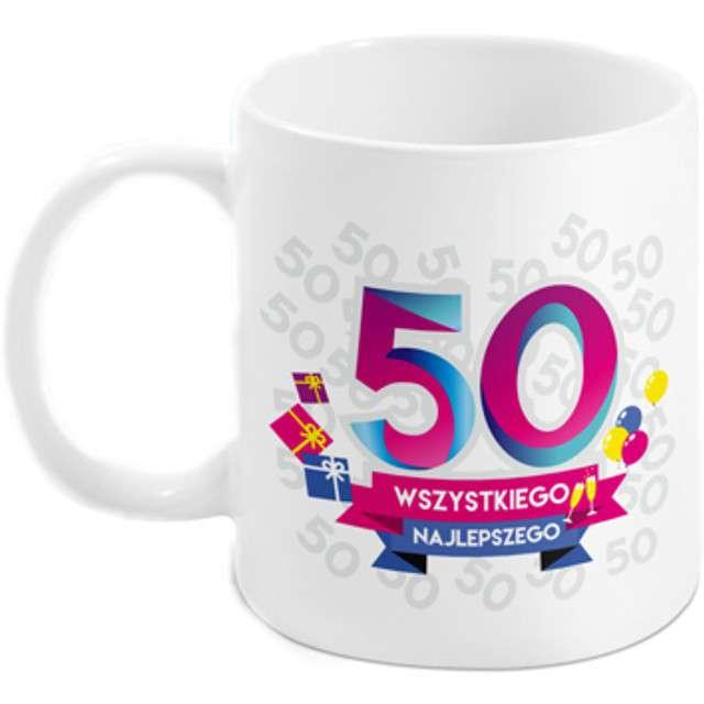 """Kubek z nadrukiem """"50-te urodziny - Boss"""", biały, BGtech, 300 ml"""
