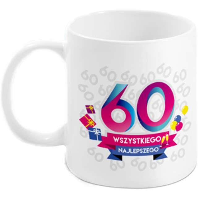 Kubek z nadrukiem 60-te urodziny - Boss biały BGtech 300 ml