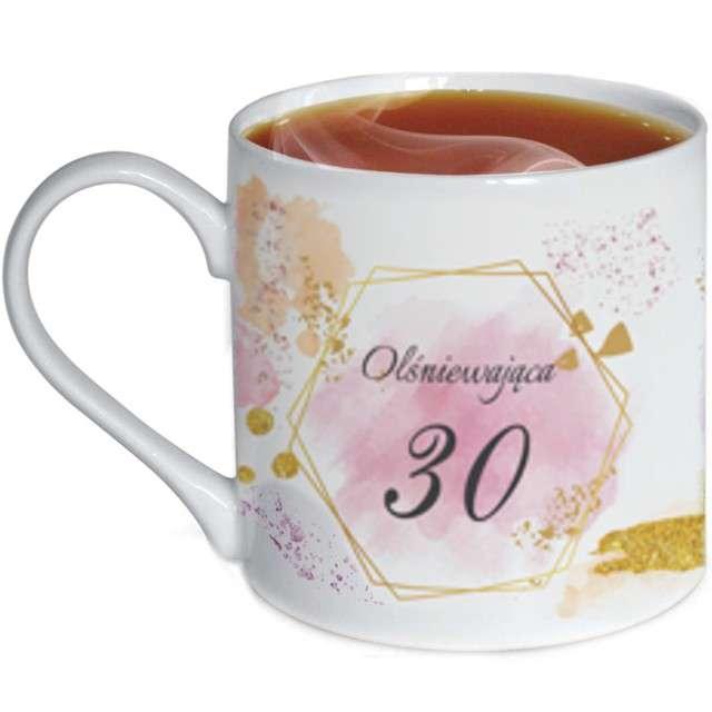 """Kubek z nadrukiem """"Urodziny z dedykacją 30"""", biały, zdobiony, BGtech, 370 ml,"""