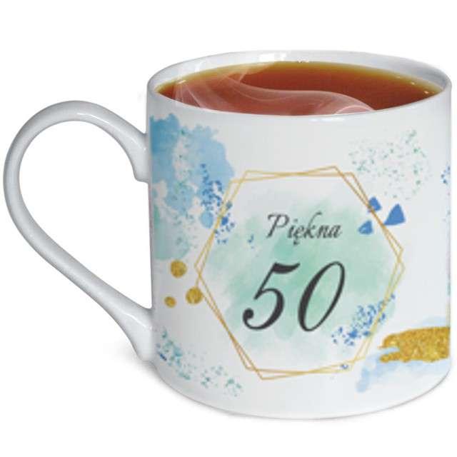 """Kubek z nadrukiem """"Urodziny z dedykacją 50"""", biały, zdobiony, BGtech, 370 ml,"""