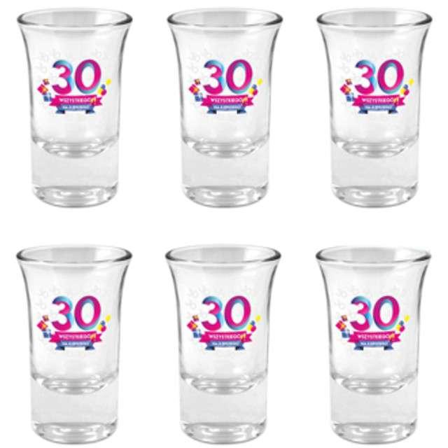 """Kieliszki do wódki """"30-tka Wszystkiego Najlepszego"""", szklane, BGtech, 35 ml, 6 szt"""