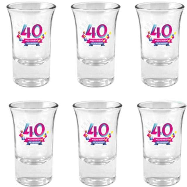 Kieliszki do wódki 40-tka Wszystkiego Najlepszego szklane BGtech 35 ml 6szt