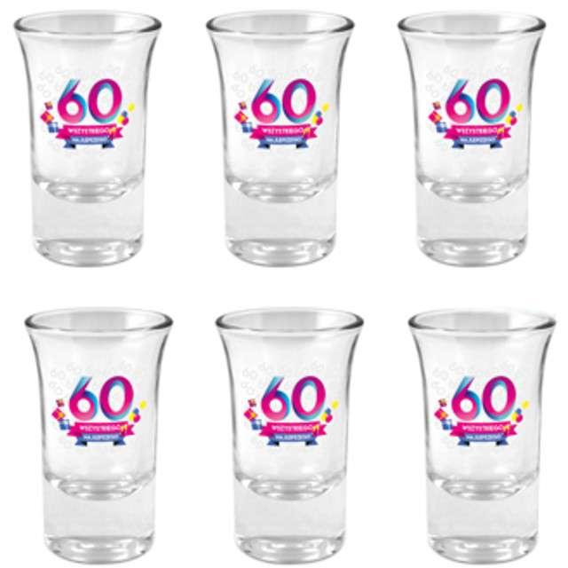 """Kieliszki do wódki """"60-tka Wszystkiego Najlepszego"""", szklane, BGtech, 35 ml, 6 szt"""