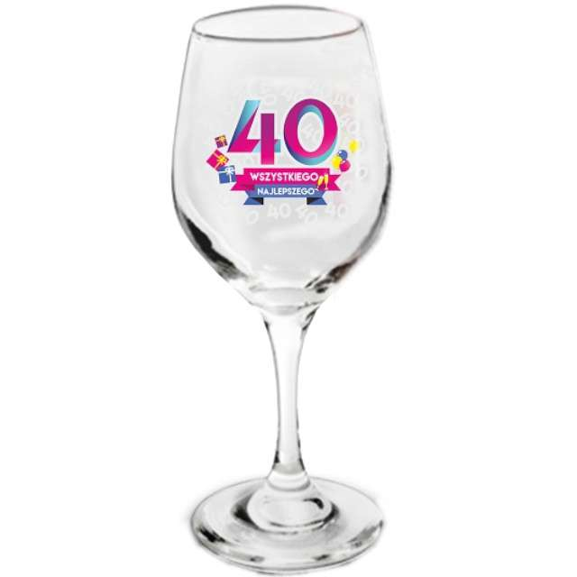 Kieliszek do wina  40 - Wszystkiego Najlepszego szklany BGtech 270 ml