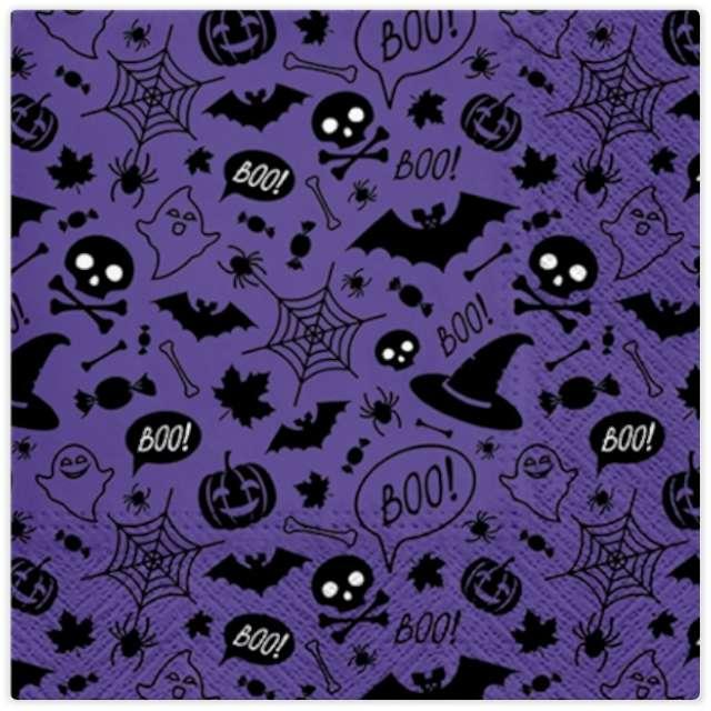 """Serwetki """"Halloweenowe Strachy"""", fioletowe, PAW, 33 cm, 20 szt"""