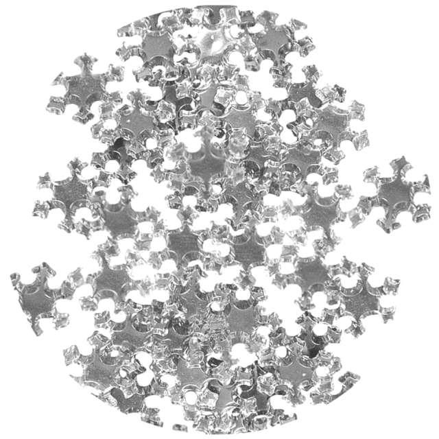 """Dekoracja """"Metaliczne śnieżynki"""", srebrne, Arpex, 24 szt"""