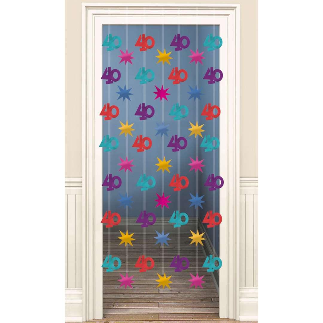 """Kurtyna na drzwi """"40 Urodziny"""", mix, Amscan, 90x200 cm"""