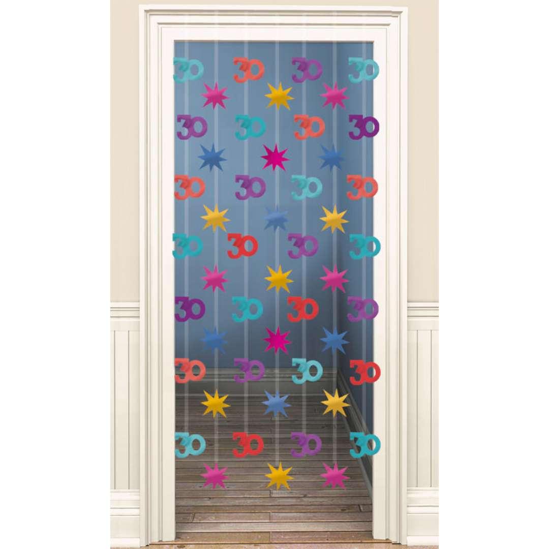 """Kurtyna na drzwi """"30 Urodziny"""", mix, Amscan, 90x200 cm"""