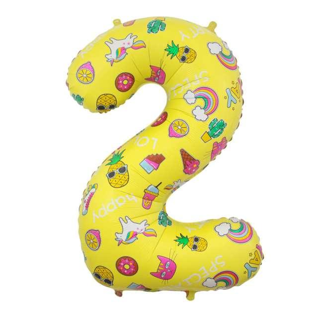 """Balon foliowy """"Cyfra 2 - Unicorn Party, żółty, Godan, 31"""""""