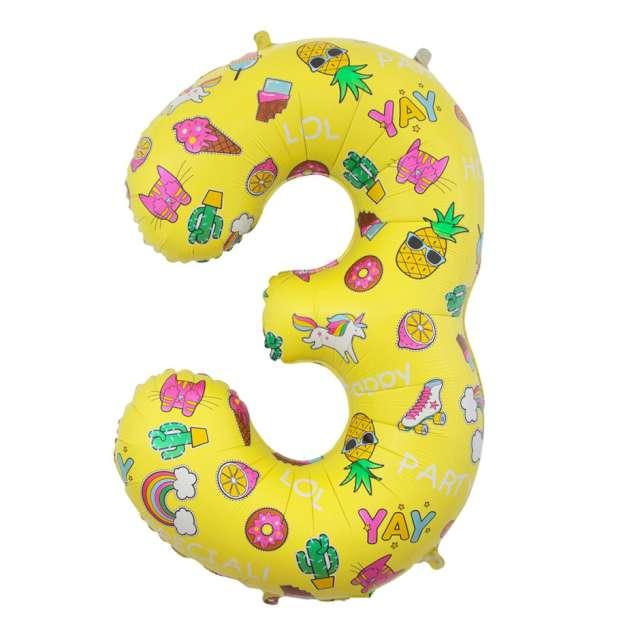 """Balon foliowy """"Cyfra 3 - Unicorn Party, żółty, Godan, 31"""""""