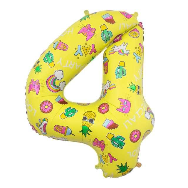 """Balon foliowy """"Cyfra 4 - Unicorn Party, żółty, Godan, 31"""""""