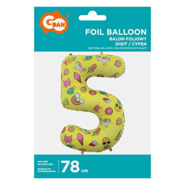 Balon foliowy Cyfra 5 - Unicorn Party żółty Godan 31