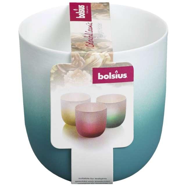 Świecznik Ceramic Tealight biało-niebieski Bolsius 75/70 mm