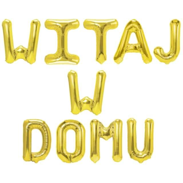"""Balony foliowe """"Napis: WITAJ W DOMU"""", złoty, PartypAL, 10 szt"""