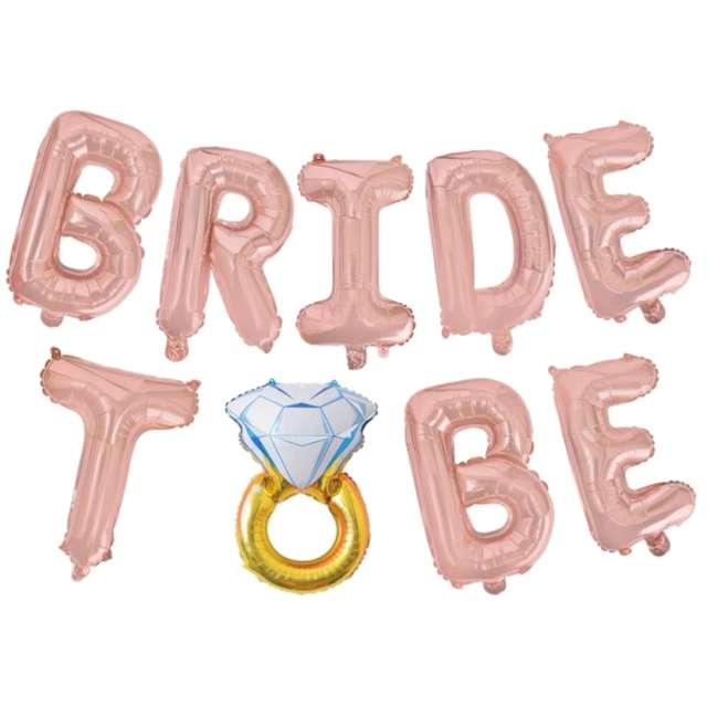 Balon foliowy  Bride To Be - Pierścionek różowe złoto PartyPal zestaw 9szt