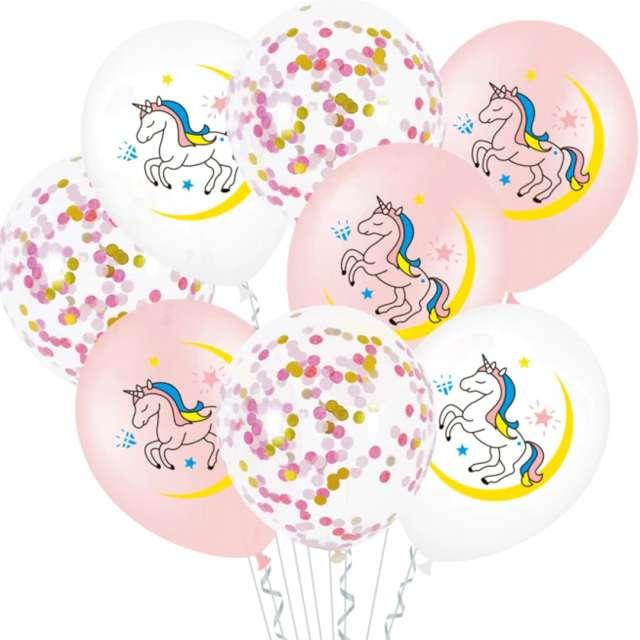 "Balony ""Jednorożce z konfetti"", mix, PartyPal, 12"", 10 szt"