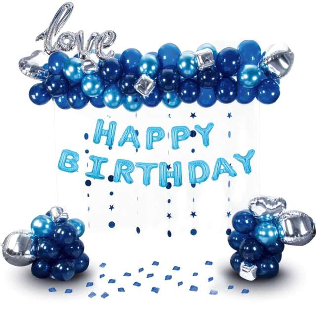 """Balon foliowy """"Love Happy Birthday"""", srebrno-granatowe, PartyPal, zestaw 102 szt"""