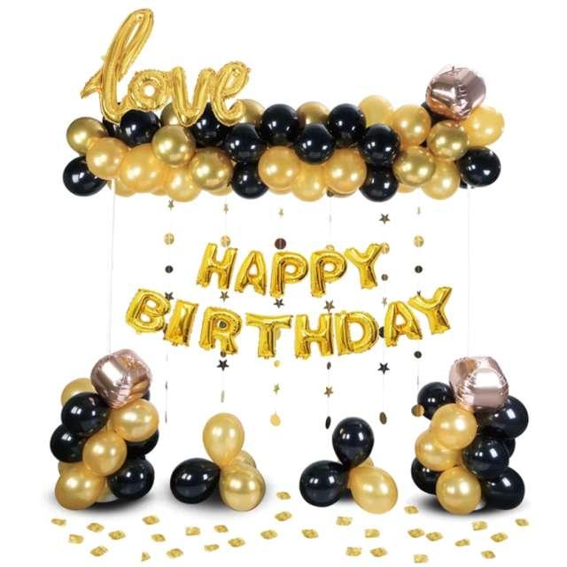 """Balon foliowy """"Love Happy Birthday"""", złoto-czarne, PartyPal, zestaw 120 szt"""