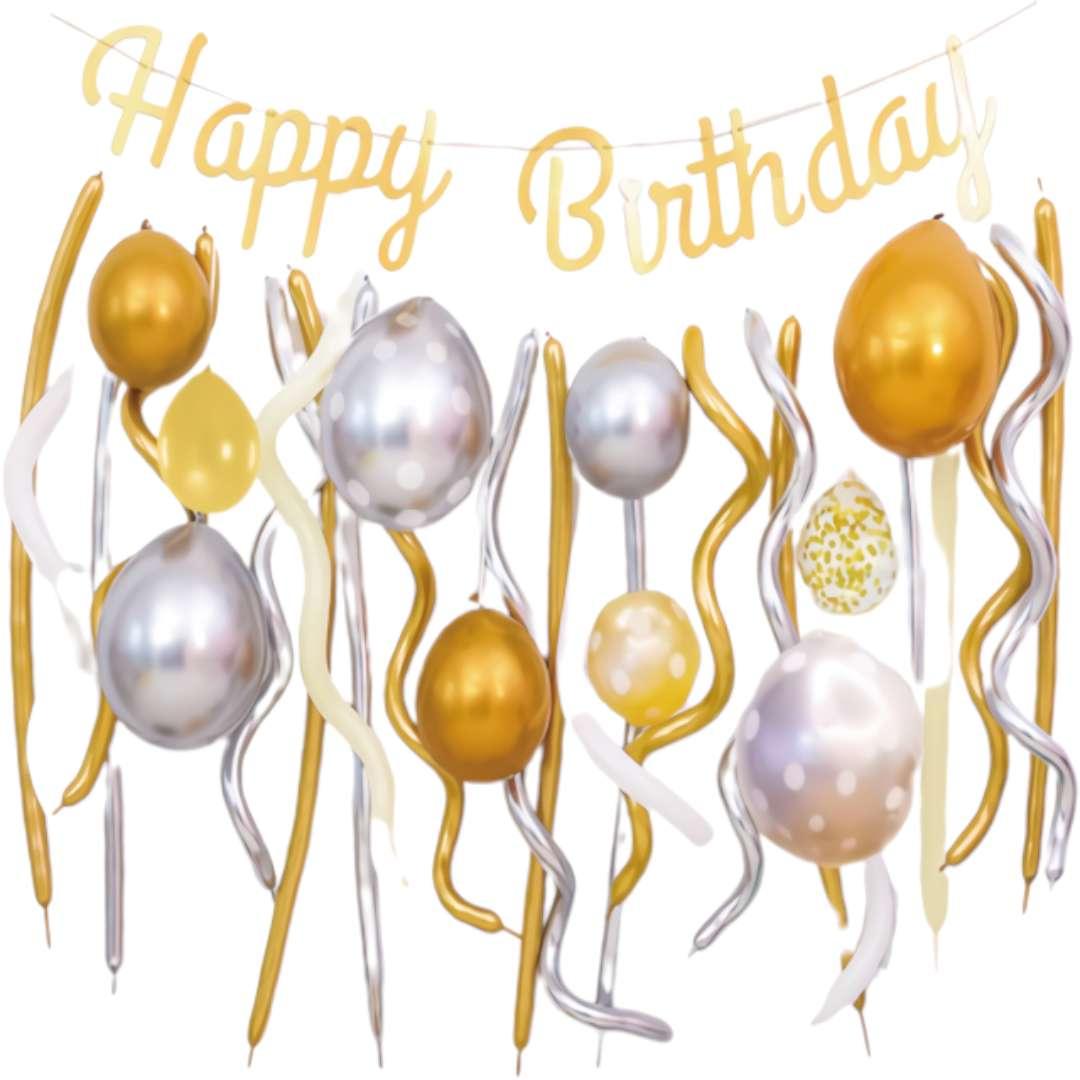 """Balony """"Zestaw Imprezowy - Happy Birthday"""", złoto-srebrny, Partypal zestaw 30 szt"""