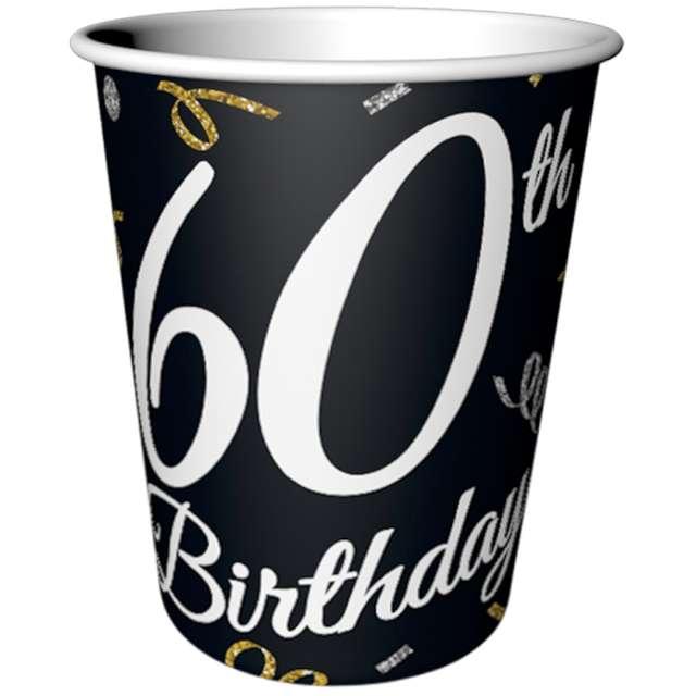 """Kubeczki papierowe """"Beauty & Charm 60-te urodziny"""", czarne, Godan, 200 ml, 6 szt"""