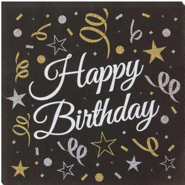 """Serwetki """"Beauty & Charm Happy Birthday"""", czarne, Godan, 33 cm, 20 szt"""