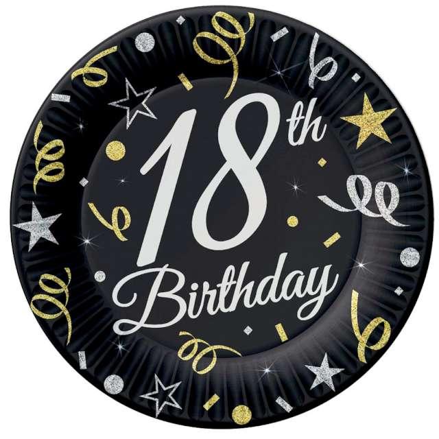 """Talerzyki papierowe """"Beauty & Charm 18-te urodziny"""", czarne, Godan, 23 cm, 6 szt"""
