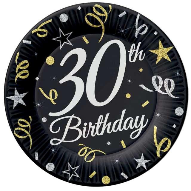 """Talerzyki papierowe """"Beauty & Charm 30-te urodziny"""", czarne, Godan, 18 cm, 8 szt"""